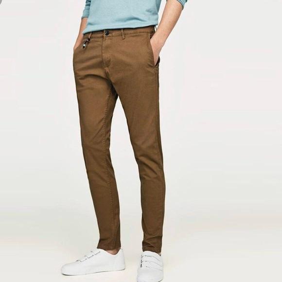 7965653b Zara Pants | Man Basic Dark Tan Structured Chino Trousers | Poshmark
